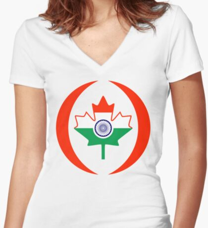 Indo Canadian Multinational Patriot Flag Series Fitted V-Neck T-Shirt