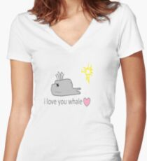 I love whales Women's Fitted V-Neck T-Shirt