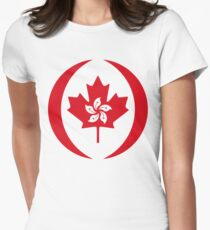 Hong Kong Canadian Multinational Patriot Flag Series Women's Fitted T-Shirt