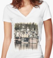 Boats Waiting - Cornwall Women's Fitted V-Neck T-Shirt