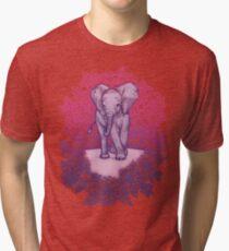 Cute Baby Elephant in pink, purple & blue Tri-blend T-Shirt