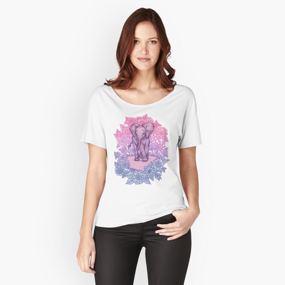Niedlicher Baby-Elefant in rosa, lila und blau Loose Fit T-Shirt