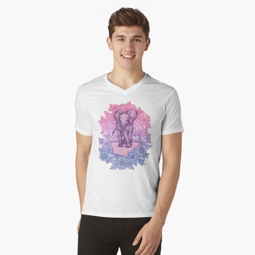 Niedlicher Baby-Elefant in rosa, lila und blau T-Shirt mit V-Ausschnitt