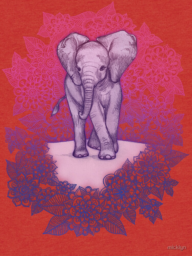 Niedlicher Baby-Elefant in rosa, lila und blau von micklyn