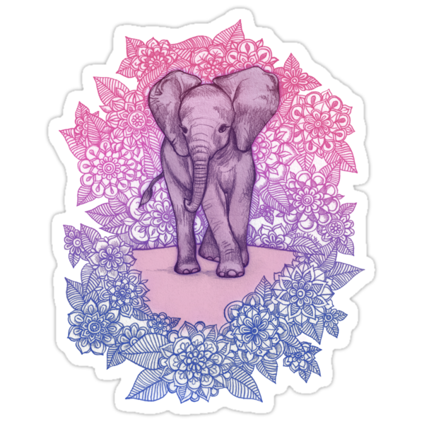 Quot Cute Baby Elephant In Pink Purple Amp Blue Quot Stickers By