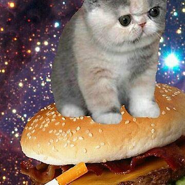 burger smokin cat by taco-elgato
