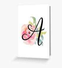 Floral Monogram A Greeting Card