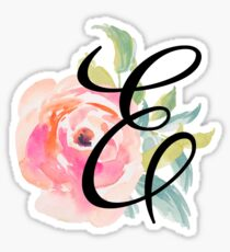 Floral Monogram E Sticker