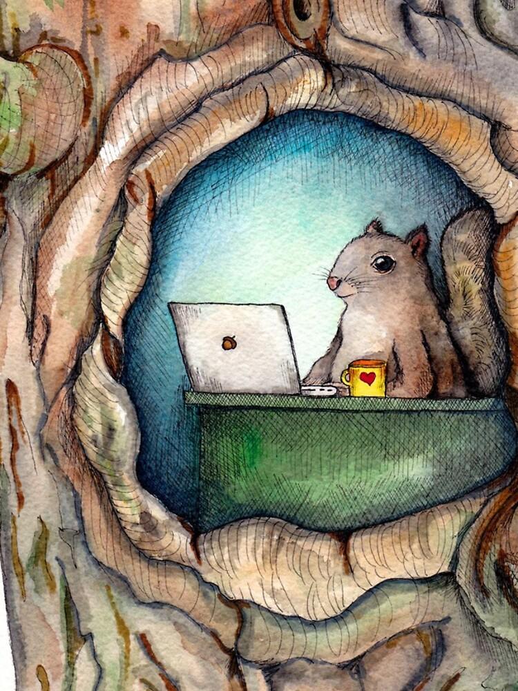 """""""Spreadsheet Eichhörnchen"""" - Aquarell Eichhörnchen im Baum, Waldwesen, Eichhörnchen Malerei, Hipster Eichhörnchen von yankeedime"""
