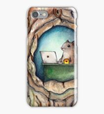 """Spreadsheet Squirrel"" - watercolor squirrel in tree, woodland creatures, squirrel painting, hipster squirrel iPhone Case/Skin"