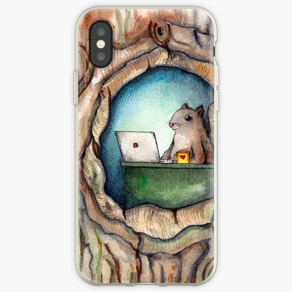 """""""Spreadsheet Eichhörnchen"""" - Aquarell Eichhörnchen im Baum, Waldwesen, Eichhörnchen Malerei, Hipster Eichhörnchen iPhone-Hülle & Cover"""