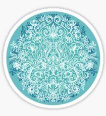 Spring Arrangement - teal & white floral doodle  Sticker