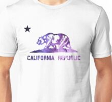 Purple California Bear Flag Nebula Unisex T-Shirt