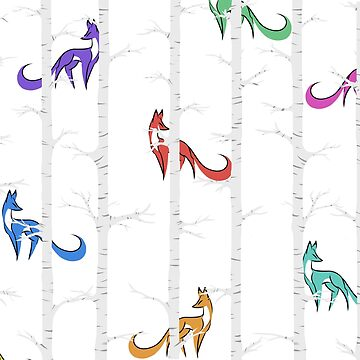 Birch Tree Foxes by Ebonmere