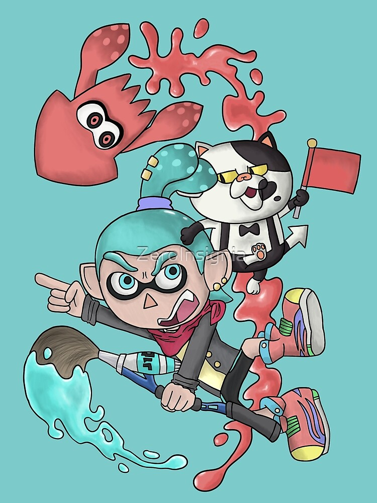 Splatoon - Cyan V.S. Red-Orange by ZeroInsignia