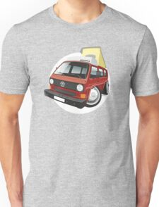 VW T3 pop-top camper caricature red Unisex T-Shirt
