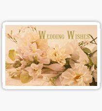 Wedding Wishes Card - White Flowers  Sticker