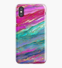 AGATE MAGIC, MIAMI SUMMER Pink Aqua Blue Marble Pattern Watercolor Abstract Painting iPhone Case