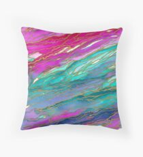 AGATE MAGIC, MIAMI SUMMER Pink Aqua Blue Marble Pattern Watercolor Abstract Painting Throw Pillow