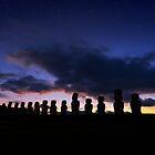 Twilight, Ahu Tongariki, Rapa Nui, Chile. by Graham Gilmore