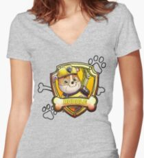 Rubble Women's Fitted V-Neck T-Shirt