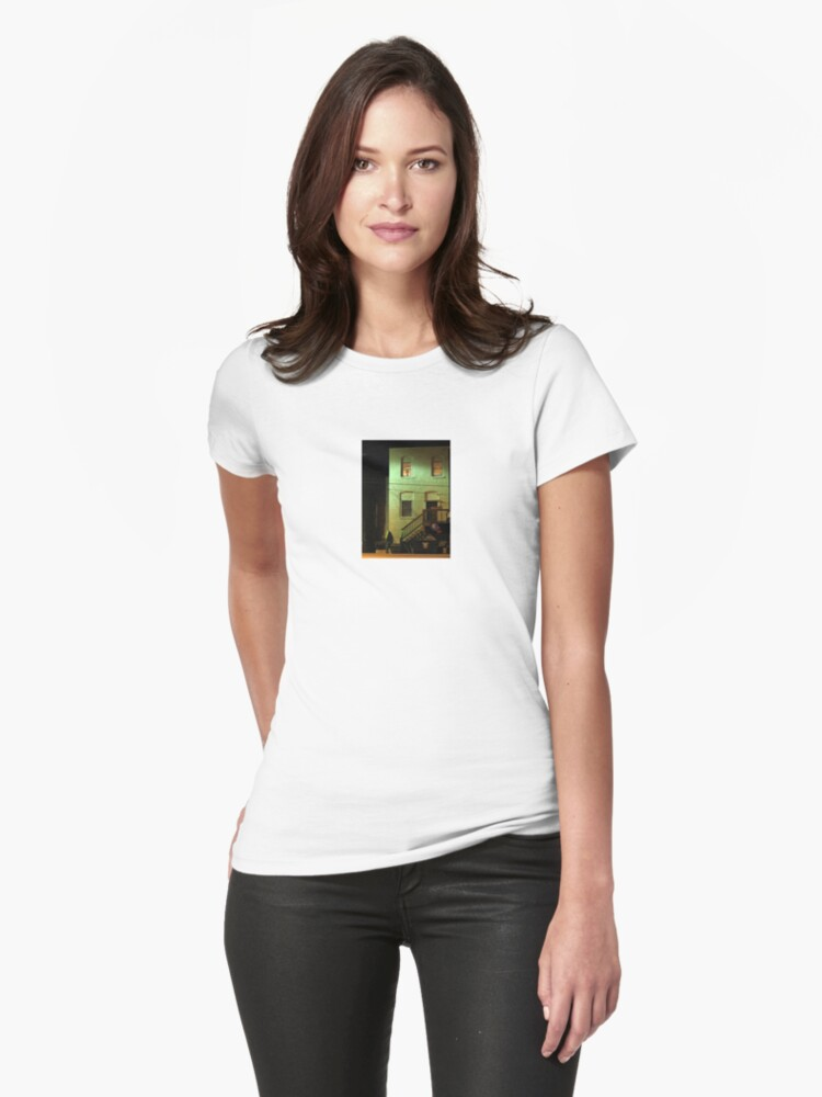 Night Alley And Building Womens T-Shirt Front