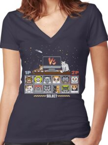 Internet Cat Fight Women's Fitted V-Neck T-Shirt