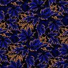 Leaves - Dark blue/beige by Andrea Muller