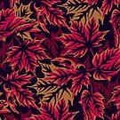 Leaves - Maroon/beige by Andrea Muller