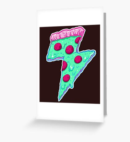Thunder Neon Pizza Greeting Card