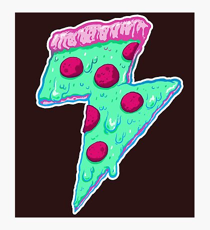 Thunder Neon Pizza Photographic Print