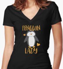 Penguin Lady Women's Fitted V-Neck T-Shirt