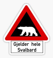 Beware of Polar Bears Sign, Norway Sticker