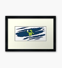 ANDROID EATS APPLE ! Framed Print