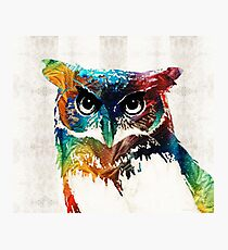 Colorful Owl Art - Wise Guy - By Sharon Cummings Photographic Print