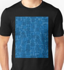 Robot pattern - Blue - fun pattern by Cecca Designs Unisex T-Shirt