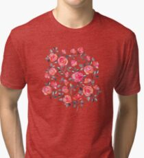 Roses on White - a watercolor floral pattern Tri-blend T-Shirt