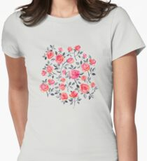 Roses on White - a watercolor floral pattern Womens Fitted T-Shirt