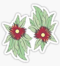 wachsende Blumen auf Beton Sticker