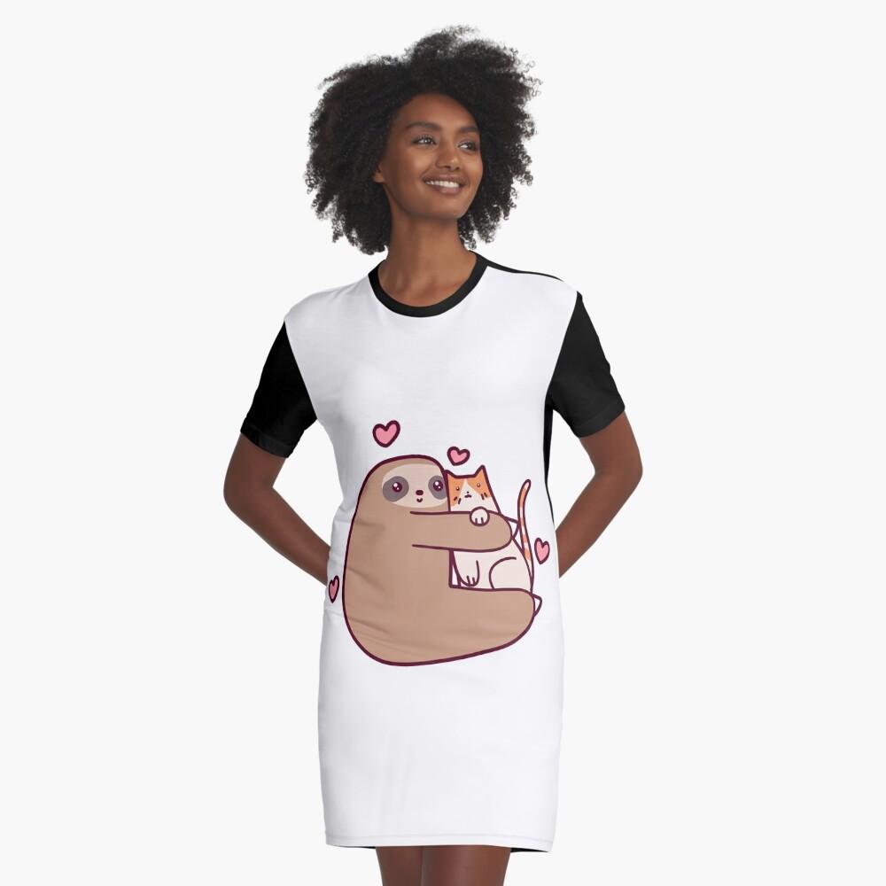 Sloth Loves Cat Graphic T-Shirt Dress