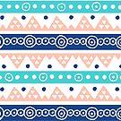 Gezeichnetes Stammes- Muster der korallenroten blauen Knickenten Hand von dreamingmind