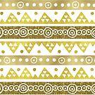Gold Hand gezeichnete Stammes-Muster von dreamingmind