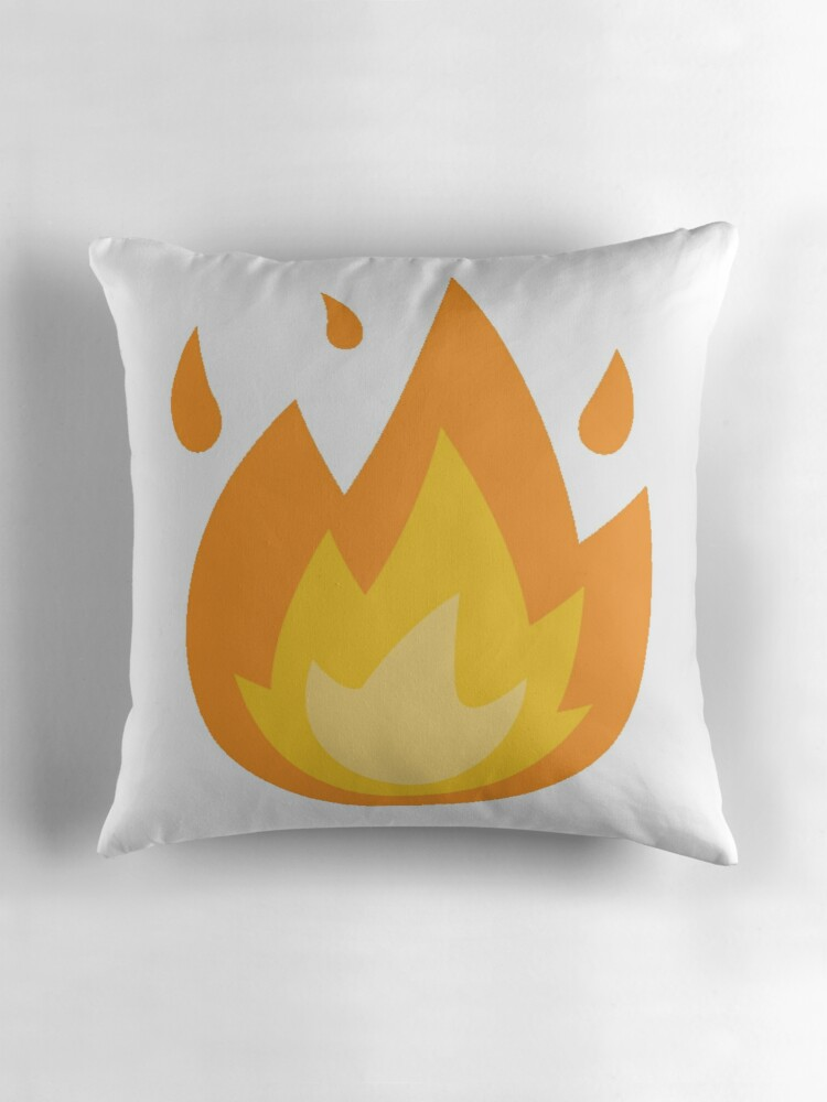 Quot Fire Flame Emoji Quot Throw Pillows By Scrappydesigns Redbubble