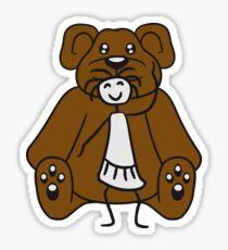 cuddle girl stroking sitting cute little teddy thick sweet cuddly comic cartoon Sticker