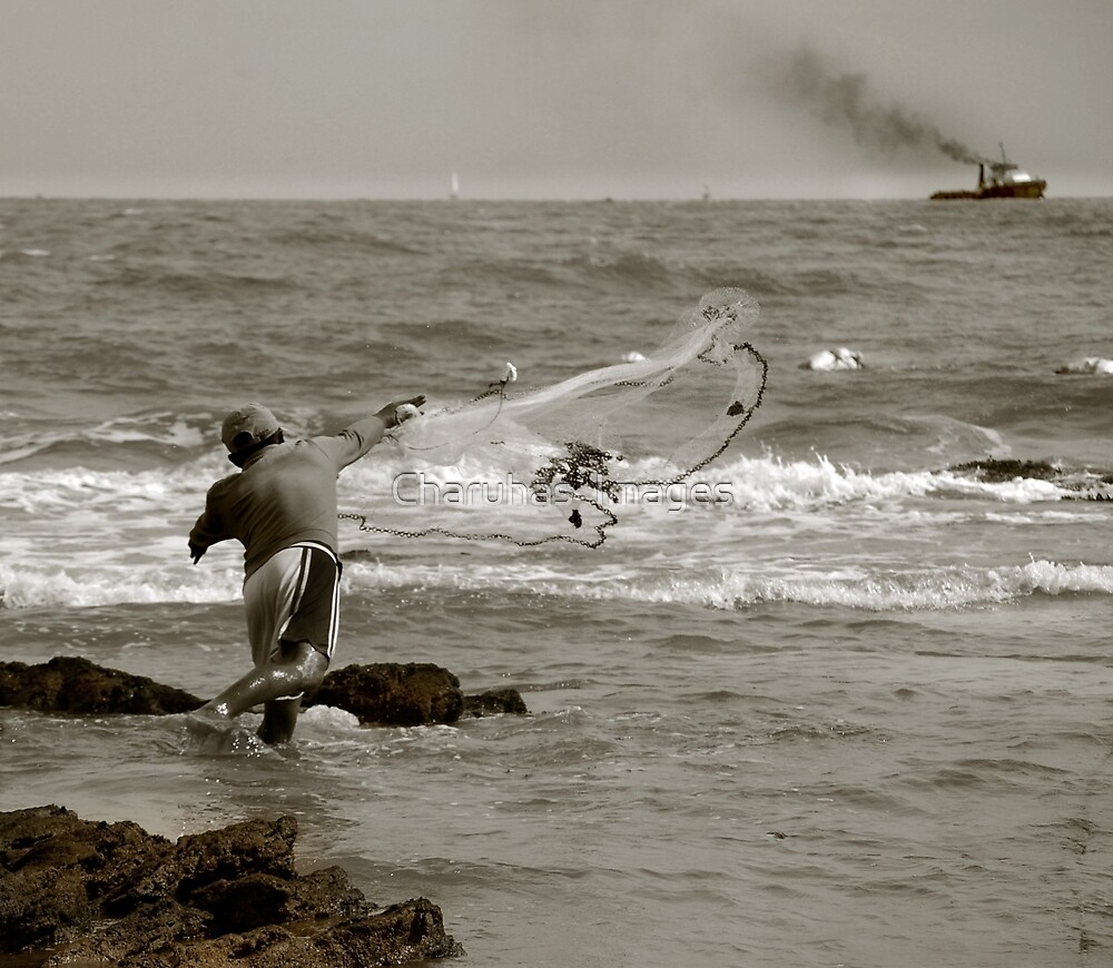 Throwing a net....Will he be lucky? by Charuhas  Images