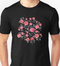 Roses on Black - a watercolor floral pattern T-Shirt