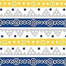 Blaue gelbe Hand gezeichnete Tribal Pettern von dreamingmind