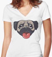 Cartoon pug dog head print Women's Fitted V-Neck T-Shirt