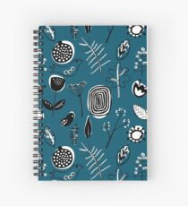 Floral doodle seamless nature pattern print on blue Spiral Notebook
