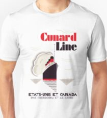 Art deco retro vintage style Cunard Line France USA Canada T-Shirt